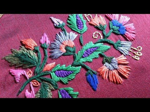 satin stitch embroidary. - YouTube