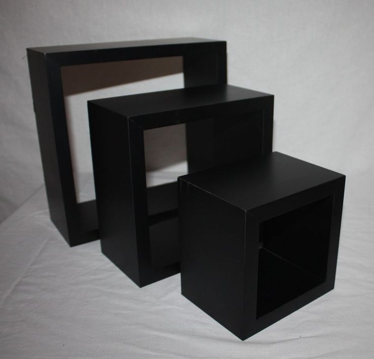 Wall Decor Display Black Shelves Set Of 3 Sizes Square Cube Home Office Dorm Modern Black Shelvessecond Handhome