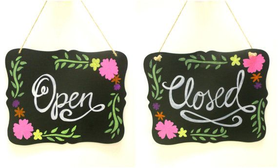 Hand painted Chalkboard Open Close Sign  by KiukeDesigns on Etsy