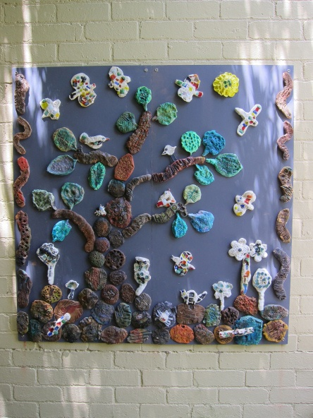 The four year old children from the Early Learning Centre made this ceramic mural.