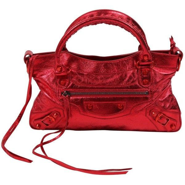 Pre-owned Balenciaga First Leather Handbag ($855) ❤ liked on Polyvore featuring bags, handbags, metallic, women bags handbags, balenciaga purse, genuine leather purse, real leather purses, man bag and red handbags