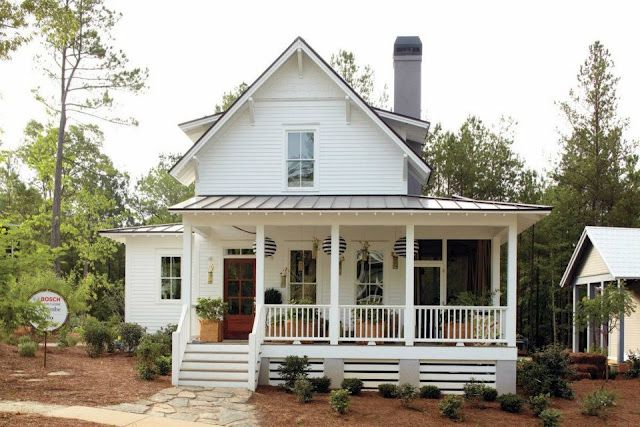 This seems like the right amount of house, porch and old farm house style in a contemporary home.