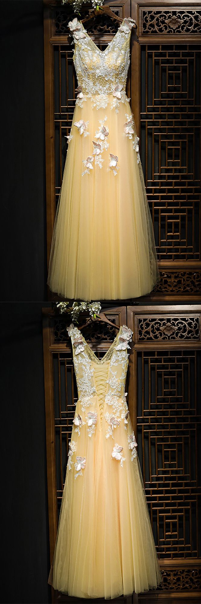Only $118, Prom Dresses Flowy Long Champagne Tulle Prom Dress With Lace Butterflies #MYX18116 at #GemGrace. View more special Prom Dresses now? GemGrace is a solution for those who want to buy delicate gowns with affordable prices, a solution for those who have unique ideas about their gowns. 2018 new arrivals, shop now to get $10 off!