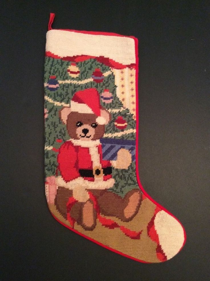 "Christmas Teddy Bear Santa Needlepoint Stocking 20"" Present Ornaments Tree Santa  