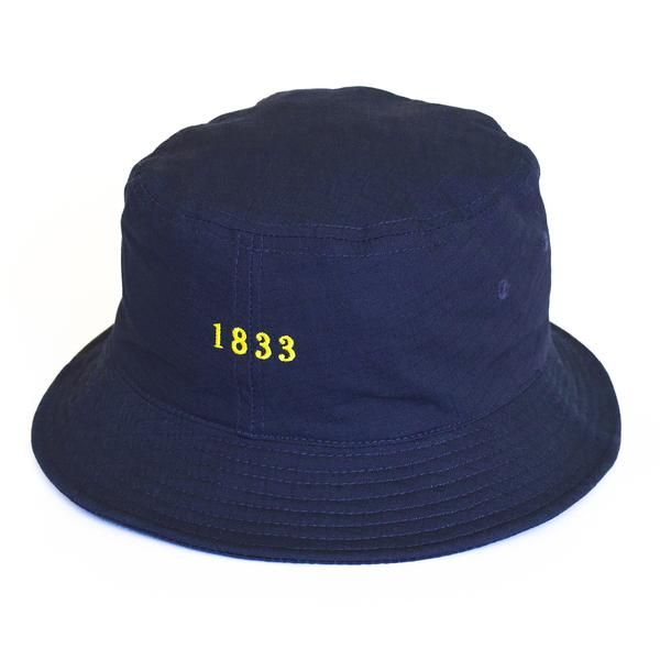 """Jack Dusty Clothing - The Navy Alwyn Bucket Hat with a yellow embroidered date """"1833"""""""