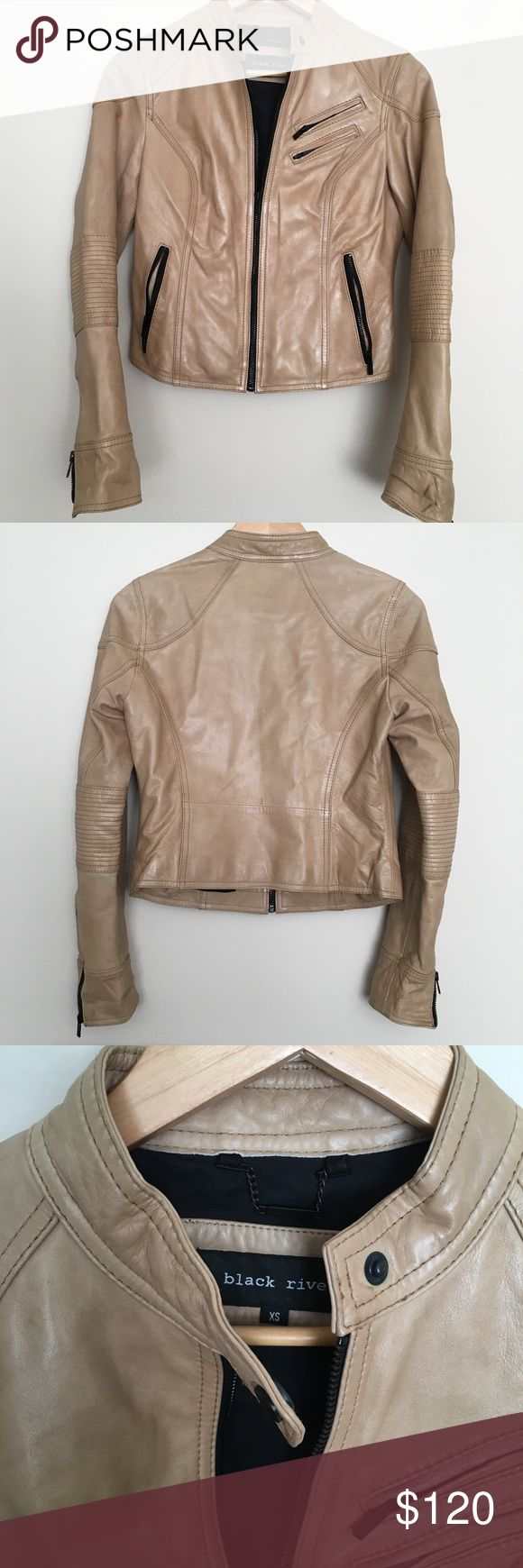 Camel leather jacket, contrast zipper In excellent condition, genuine leather made to last. Tight fit hugs your body. The jacket had a bit of room in the sleeves making it perfect for layering. Offers are encouraged! Black Rivet Jackets & Coats