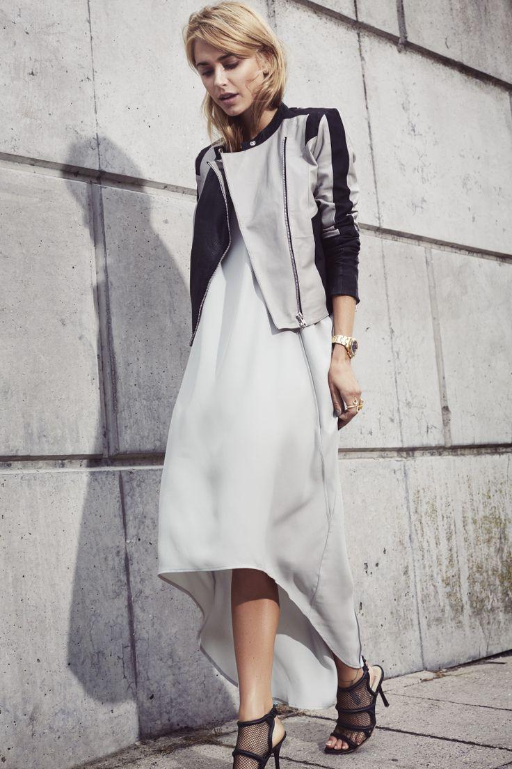 Y.A.S Maxi Dress, Swam Leather Jacket #yasapparel
