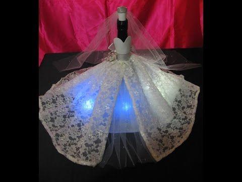 Centro de mesa botella vestida de novia - YouTube