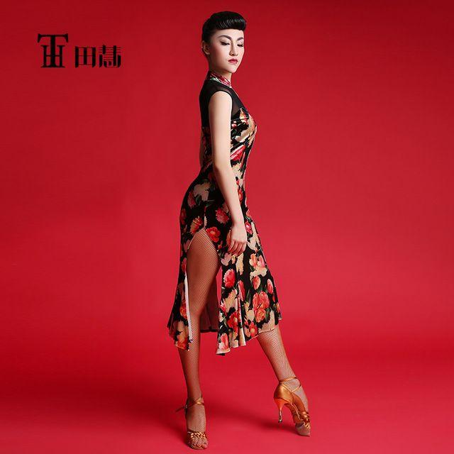 New frange de la concurrence robe de danse latine, Salsa robe, Robe de salon, Chacha valse costume de danse