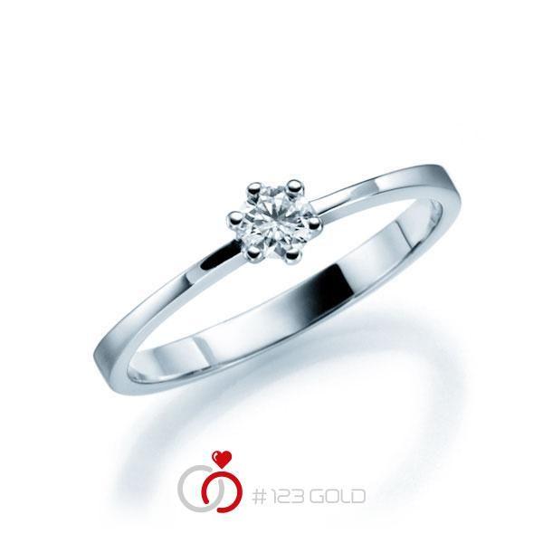 Verlobungsring Diamantring 6 Krappen, Zungenschiene gerade leicht- Legierung: Weißgold 585/- - Steinbesatz: 1 Brillant 0,15 ct. tw, si