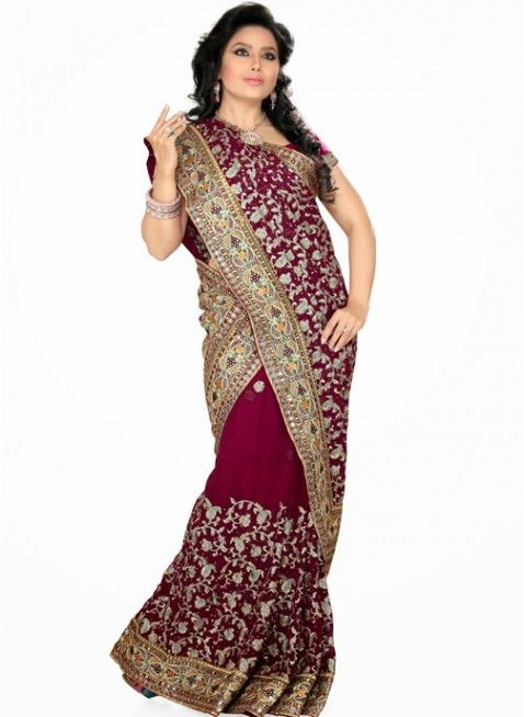 Enigmatic Magenta Color Faux Georgette Based Embroidered #Saree