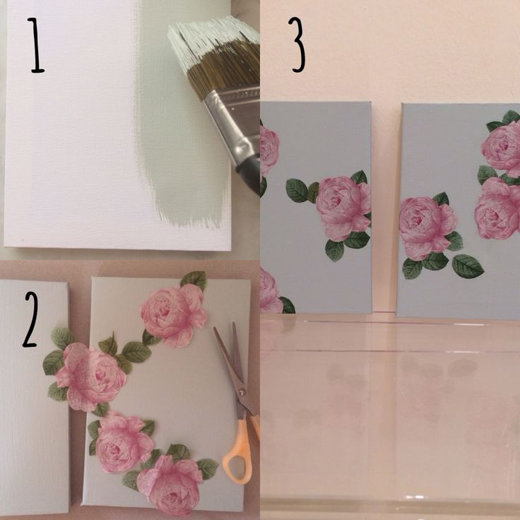 Canvas decoupage  1: paint with ur fav colour 2: cut shapes from a decorated napkin of ur choice 3: Mod podge