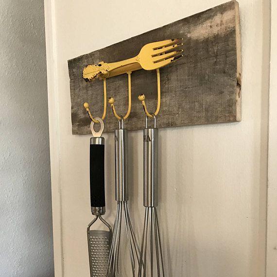 Kitchen Utensil Rack - Yellow Fork with Hooks on Reclaimed Wood