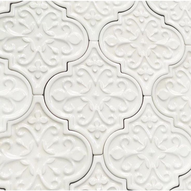 Byzantine Florid Arabesque Bianco Ceramic Tile - Arabesque Tile - Shop By Tile Shape and Pattern