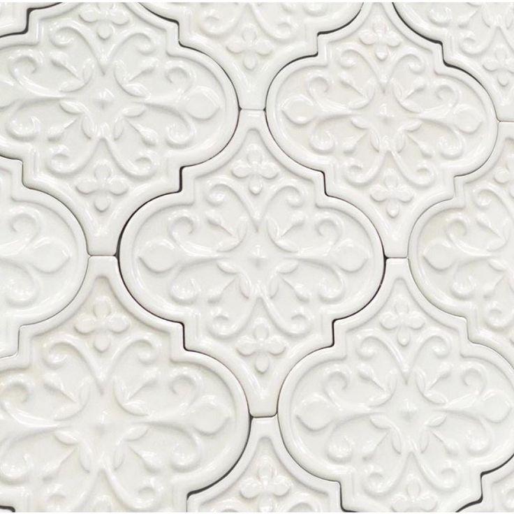Byzantine Florid Arabesque Bianco Ceramic Tile - Arabesque Tile - Shop By Tile Shape and Pattern