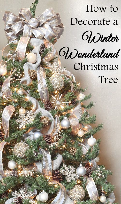 How to decorate a winter wonderland Christmas tree - gray, silver, gold, champagne, no red, ideas, tips, tricks, designer, professional, pine cones, mirror, glitter, sparkle