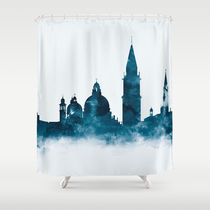 Venice Italy Skyline Cityscape Showercurtain Watercolor Landscape Rome Europe Blue