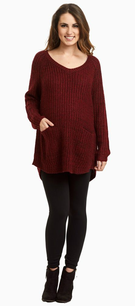 A simple, classic knit maternity sweater perfect for the winter season. A v-neckline gives this top a little shape while pockets and long sleeves will keep you warm. You can wear this maternity sweater with maternity leggings and boots for a casual winter ensemble.  Perfect for women's and maternity.
