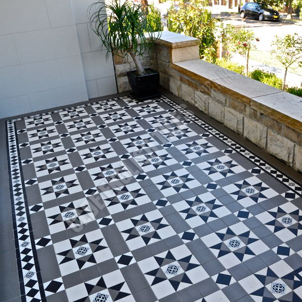 Olde English Tiles Australia - Paddington continuous pattern with Norwood border and Enc