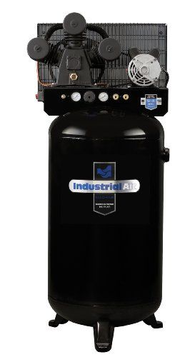 The Industrial Air 80 gallon compressor features a cast iron, V-twin cylinder, oil lube pump with a one piece cast iron crankcase, thermally stable cast iron cylinder body, aluminum head and machined cast iron valve plate, automotive style ball bearings, durable stainless steel reed valves, oil level sight glass, easily accessible oil fill, and a 10 inch cast iron balanced flywheel. Max PSI is 155 with a 16.1 CFM at 40 PSI and a 14.0 CFM at 90 PSI. Running HP is 4.7, 240 Volts.