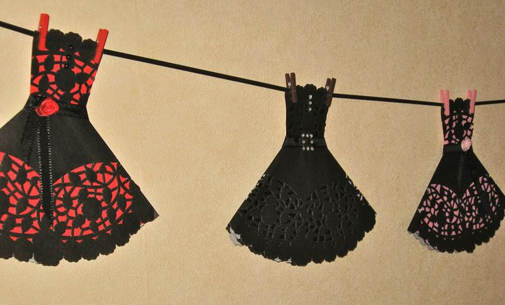 Foldulicious Fiesta Bunting - Black Lace $7nz each available from Etsy, Trade Me or Facebook