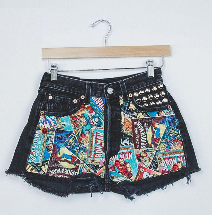 "Vintage Black Marvel Studded Levi's Shorts - 25"" - Spikes and Seams"