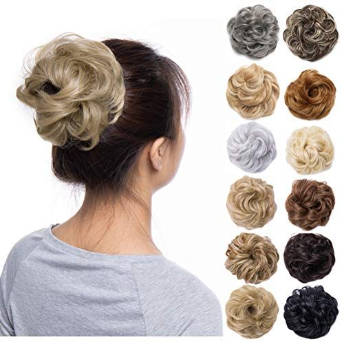 Scrunchy Updo Wavy Straight Hair Bun Messy Donut Elastic Chignons Synthetic Hairpiece Ombre Black Brown Blonde Hair Extension
