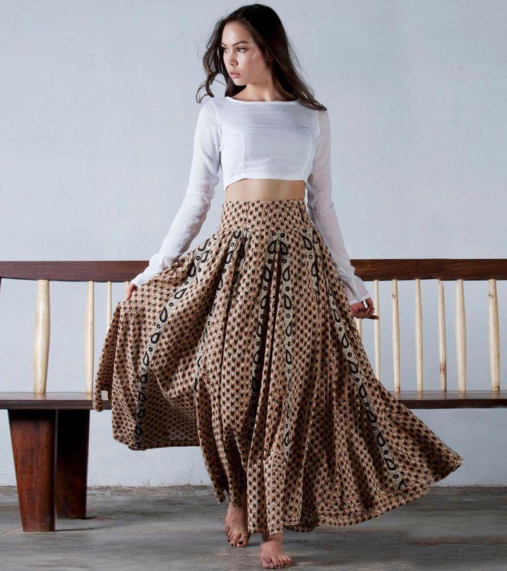Mustard flared full length skirt by KharaKapas on Etsy