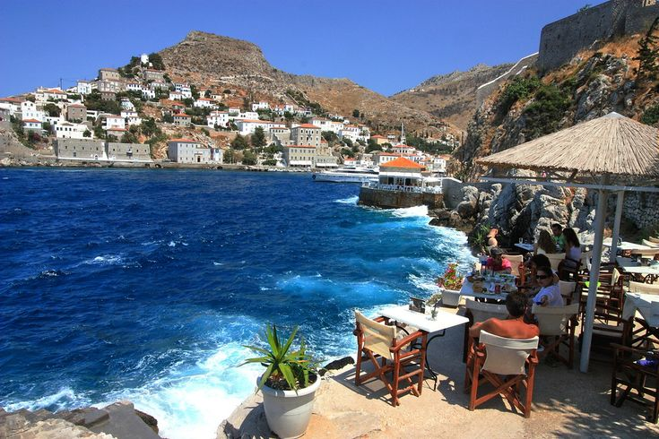 Spilia bar. Hydra island, Saronic, Greece....ive been to hydra this looks just the spot like where i jumped into the ocean!