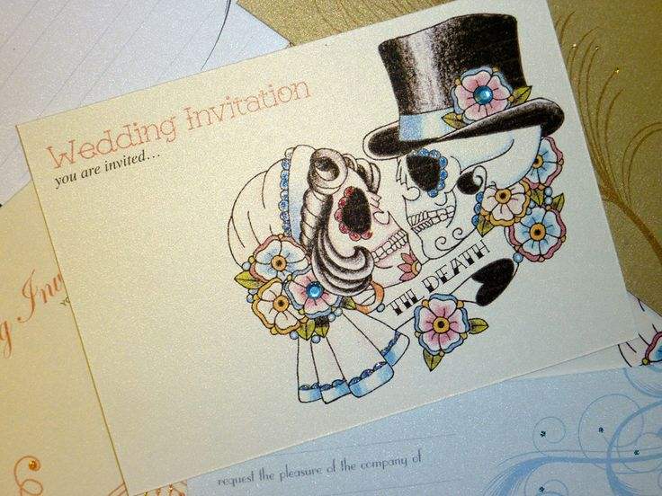 "Day Of The Dead Wedding Gifts: Bride & Groom Sugar Skull ""Til Death"" Tattoo Day Of The"