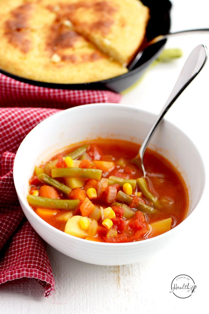 Tomato vegetable soup is a simple, comforting and tasty way to eat more veggies. And you can make it on the stovetop or in your Instant Pot.