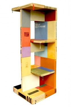 Book shelf from recycled books