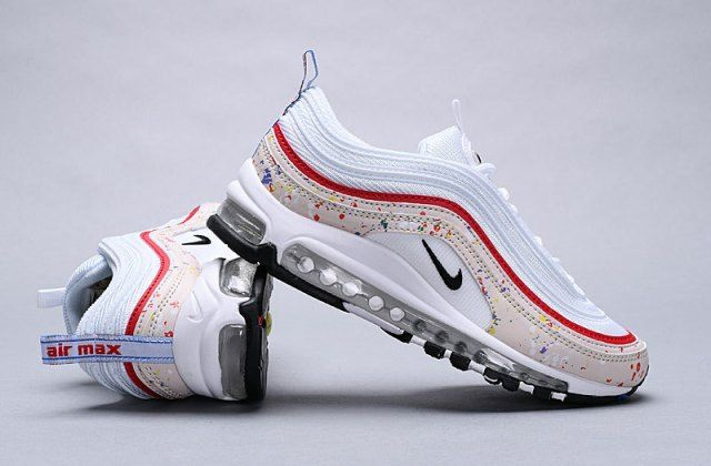 828214dba6 Nike Air Max 97 Paint Splatter Sail/Amarillo/University Red/Black  312834-102 Sneaker Men's Women's Shoes