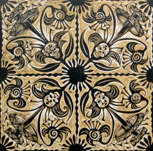 Michel Tuffery, Ula Tivaevae, Woodcut and Embossing on 650 x 500 mm paper, from an edition of 22, 2010. NZ$1500 incl GST.