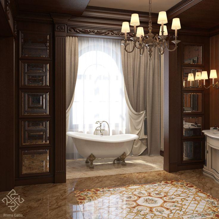 Гармоничное сочетание мрамора и дерева, четкое зонирование и выдержанная классическая стилистика делают пребывание в хозяйском санузле очень комфортным. Особенно этому способствует роскошная ванна на львиных ножках. Тренд на применение звериных лап в ванных появился еще в далекую Викторианскую эпоху, однако такое классическое решение актуально и по сей день. Ну и, конечно, главным украшением ванной комнаты является мраморный ковер ручной работы #Siprivate_manufacture .
