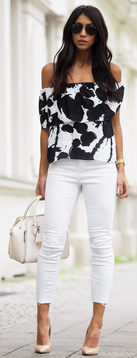 Cute Printed Off The Shoulder Tops and Jean Outfits | street style. ♥ Fashion…