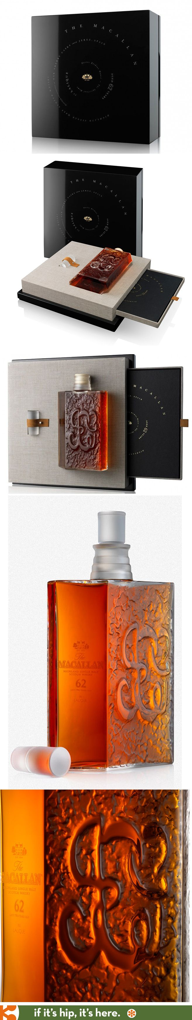 The Macallan Lalique, Aged 62 Years. Stunning bottle, stopper, box and presentation.