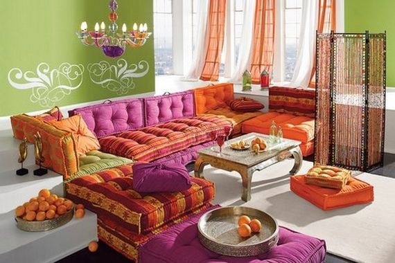 Not keen on the green wall, but feel almost embarrassed to like to ultra bright sofa and generally eclecticism of the colour mix