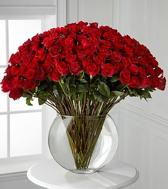 Same Day Florist Delivered  Breathless Luxury Rose Bouquet - 100 Stems of 24-inch Premium Long-Stemmed Roses - VASE INCLUDED