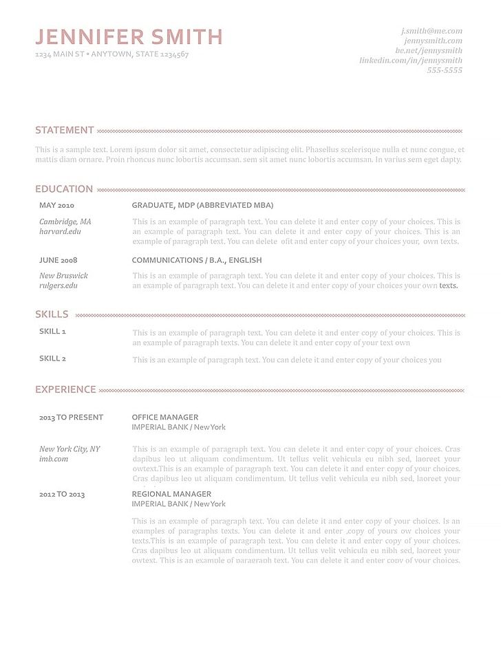 Elegant Resume Template 110900 Best Career Goals Microsoft Word Pdf