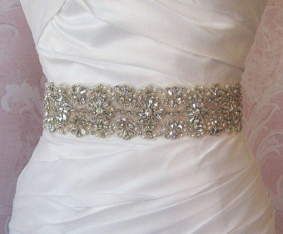 Rhinestone & Pearl Sash Bridal Belt 14 of by TheRedMagnolia