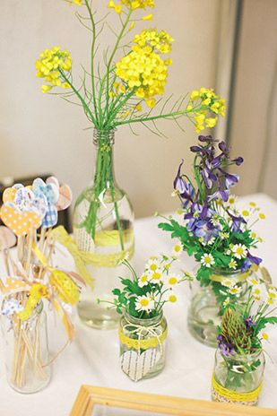 simple spring florals in cans and jars   www.onefabday.com