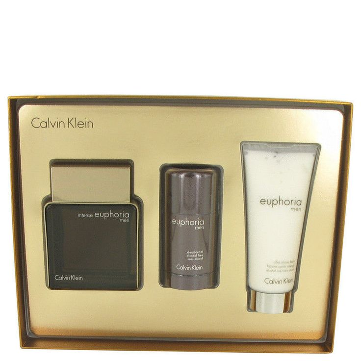 Euphoria Intense by Calvin Klein 3.4 oz Eau De Toilette Spray GIFT for Men 3 pcs #CalvinKlein