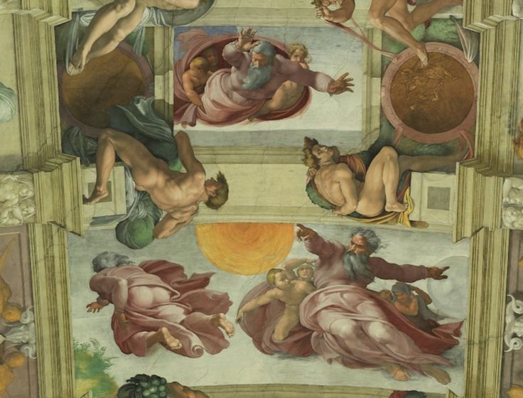 Sistine Chapel Ceiling - God divides water and earth, creates sun and plants
