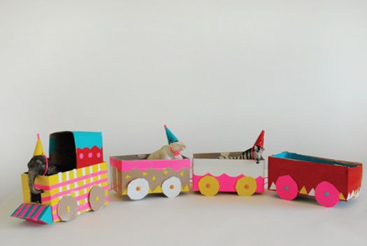 Circus Train with tea boxes by mer mag