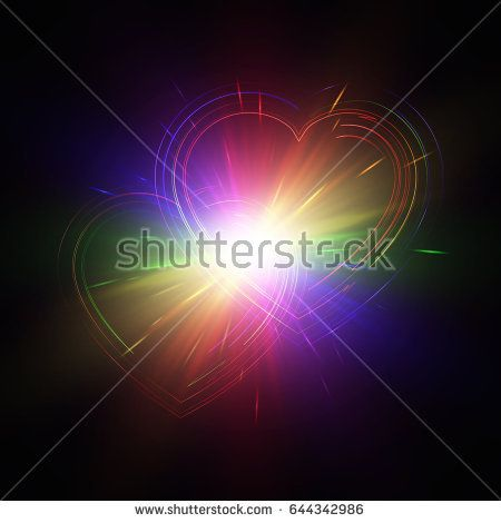 Rainbow hearts with light effects on a dark backdrop. Vector illustration.