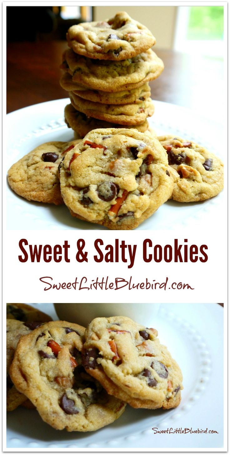 Sweet & Salty Cookies - Loaded with semi-sweet chocolate chips, Reese's peanut butter chips, pieces of pretzels and caramel bits...a sweet & salty winner! | SweetLittleBluebird.com