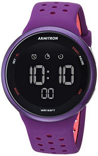 4860d9dbb2ed Armitron Sport Unisex 40 8423PUR Light Pink Accented Digital Chronograph  Purple Silicone Strap Watch