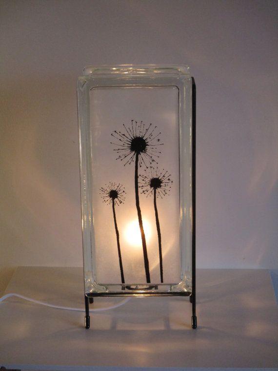 Dandelions Night Light Upcycled Glass Block Dandelion Lamp