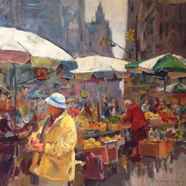 """City Market by Charles Movalli Oil, 48"""" x 48"""""""